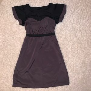 Taupe and Black A-Line Dress